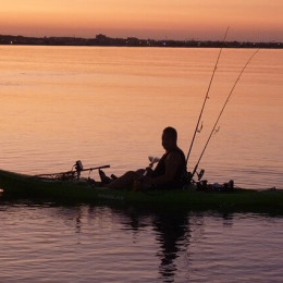 Fishing kayak on the lake