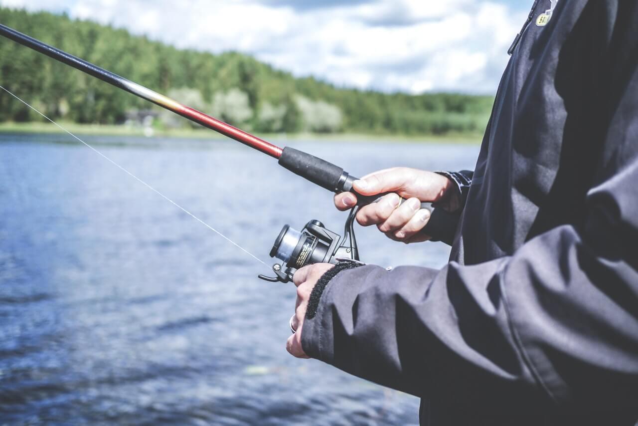 adult man spin fishing