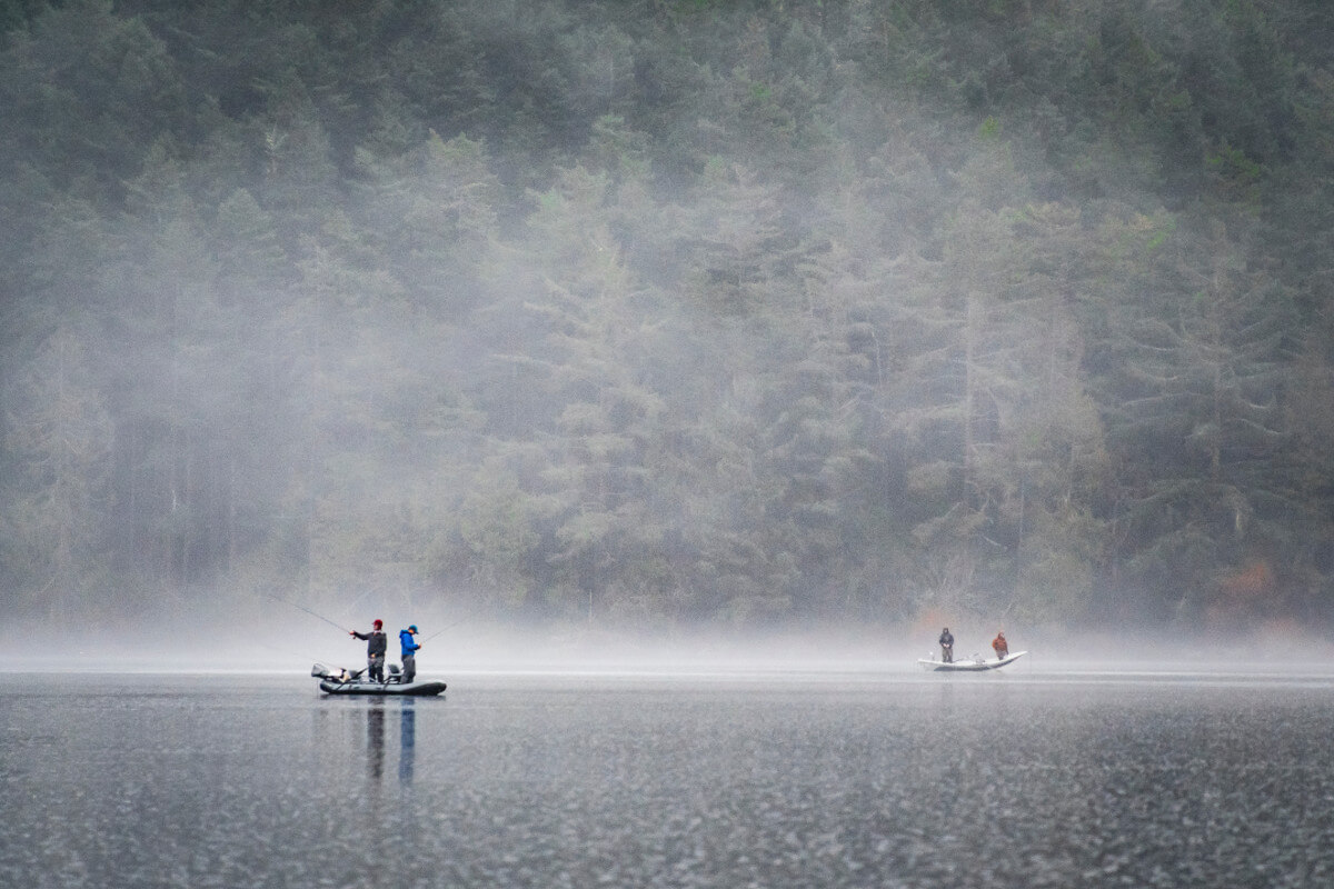 people on boat fishing near foggy forest in the rain