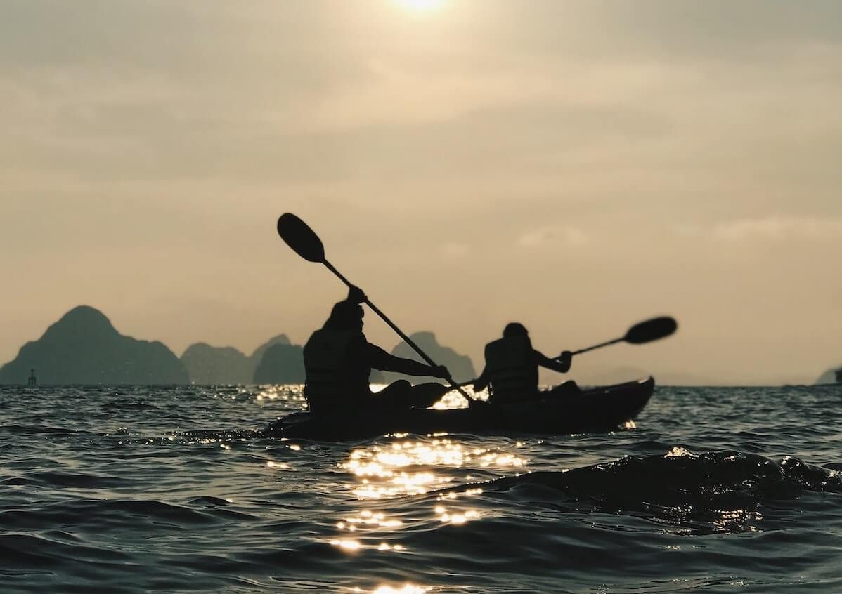 tandem kayak in ocean